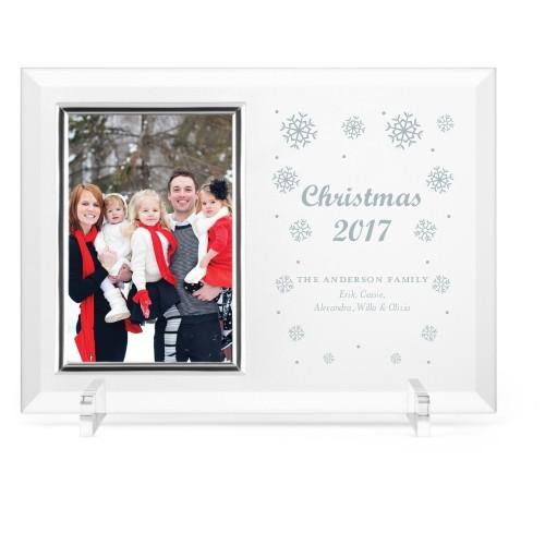 Snowflake Cheer Glass Frame, 11x8 Engraved Glass Frame, - Photo insert, White