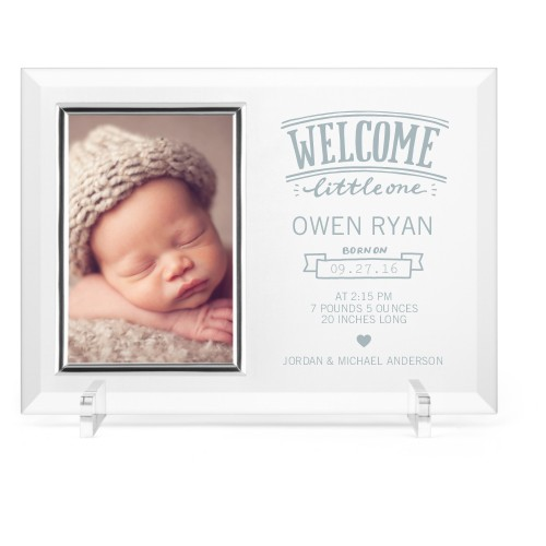 Welcome Little One Glass Frame, 11x8 Engraved Glass Frame, - No photo insert, White
