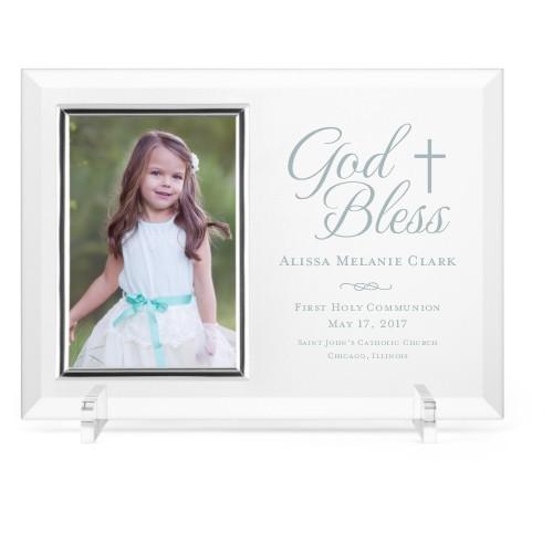 God Bless Glass Frame, 11x8 Engraved Glass Frame, - Photo insert, White