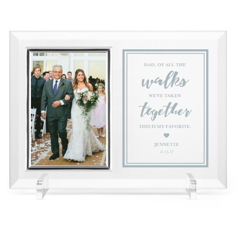 Down The Aisle Glass Frame, 11x8 Engraved Glass Frame, - No photo insert, White