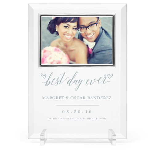 Best Day Ever Glass Frame, 8x11 Engraved Glass Frame, - No photo insert, White