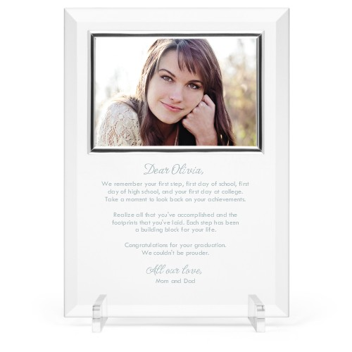 Mindful Note Glass Frame, 8x11 Engraved Glass Frame, - Photo insert, White