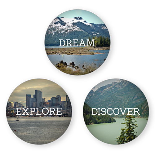 Dream Explore Discover Set of 3 Glass Magnets, Set of 3 Glass, White