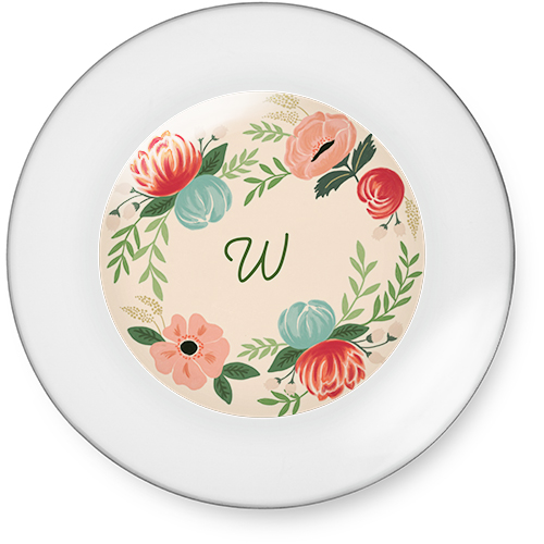 hand drawn floral 7 inch round glass plate