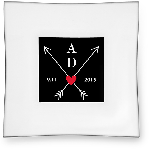 Wedding Arrows Monogram Catch All Tray, 6x6, Black