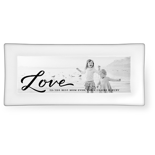 Scripted Love Memory Catch All Tray, 3.75x7.5, Black