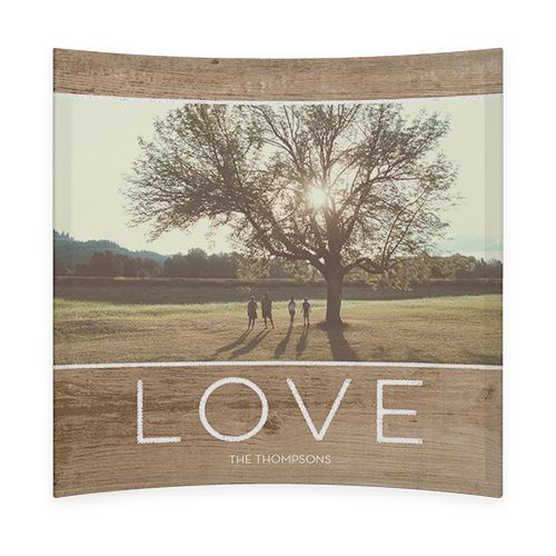 Rustic Love Curved Glass Print, 9 x 9 inches, Curved, Brown