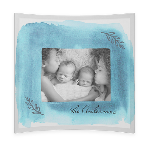 Watercolor Frame Curved Glass Print, 9 x 9 inches, Curved, Blue
