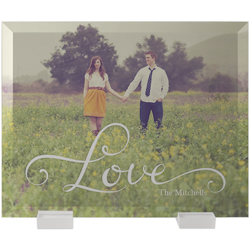 Hand-Lettered Love Flat Glass Print, 8 x 10 inches, Flat, White