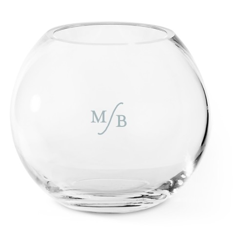 Elegant Monogram Glass Vase, Glass Vase (Round), Glass Vase Double Sided, White