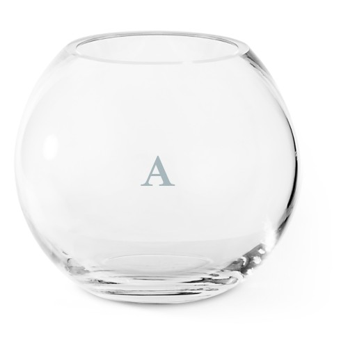 Classic Monogram Glass Vase, Glass Vase (Round), Glass Vase Double Sided, White