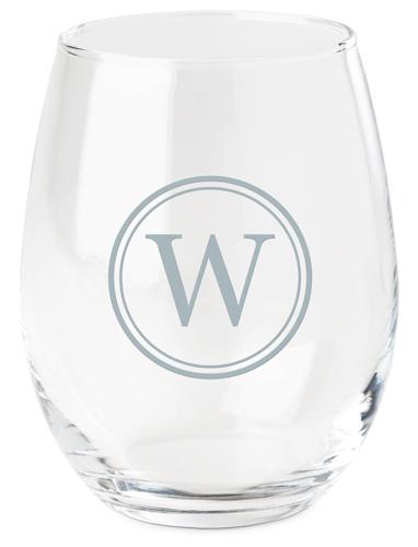 Circle Monogram Wine Glass, White