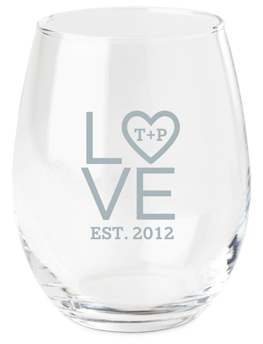 Stacked Love Initials Wine Glass, White