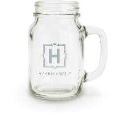 stylized monogram name mason jar