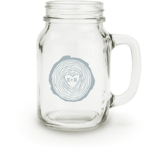 Hand Drawn Wood Heart Mason Jar, White