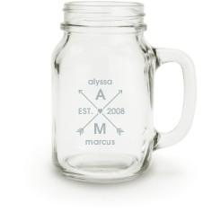 arrows and hearts mason jar