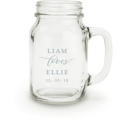 Big Day Mason Jar, White