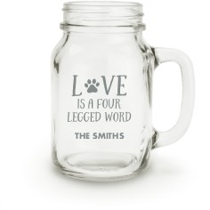 four legged love mason jar