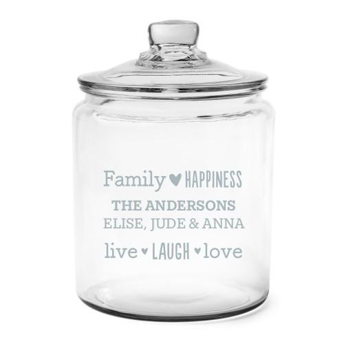 Family Sentiment Glass Jar, Glass jar half gallon, Glass jar single side, White