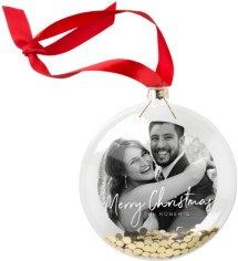 christmas script glitter ornament