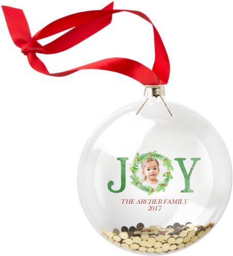 Joy Wreath Glitter Ornament, Green, Circle