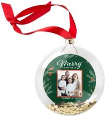 merry foliage glitter ornament