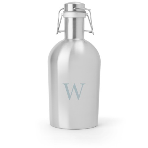 Classic Monogram Growler, Growler Double Side, Stainless Steel, Stainless Steel, White