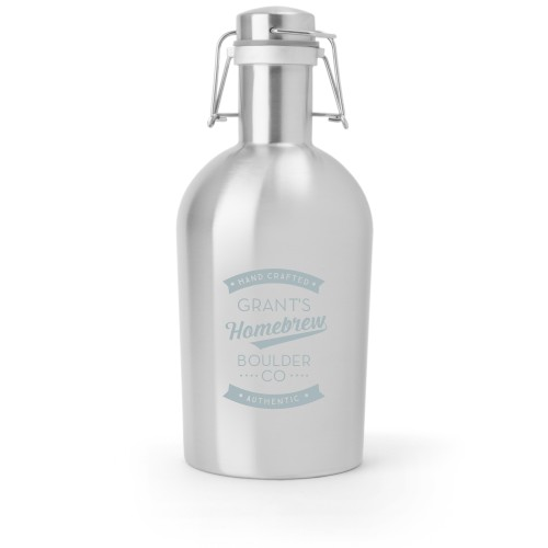Homebrew Growler, Growler Single Side, Stainless Steel, Stainless Steel, White