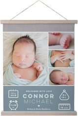 welcome baby boy hanging canvas print