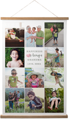 happiness heart collage portrait hanging canvas print
