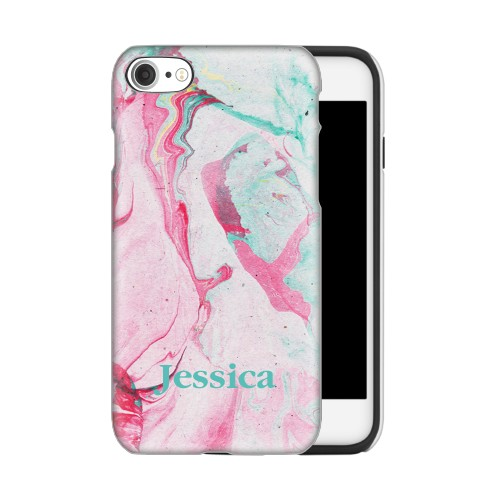 Marbleized Pink and Green iPhone Case