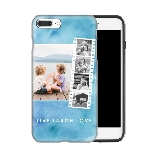 Watercolor Filmstrip Collage iPhone Case, Silicone liner case, Glossy, IPhone 7 Plus, Blue