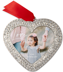 contemporary scripted love jeweled ornament