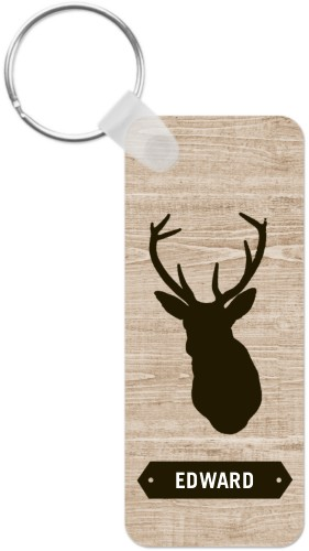 Deer Silhouette Key Ring, Rect, Brown