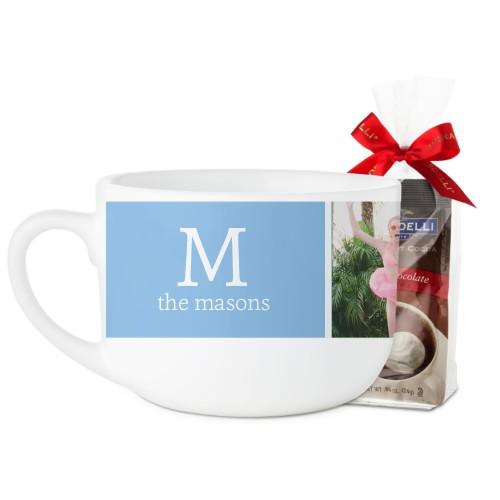 Gallery Monogram Latte Mug, White, with Ghirardelli Premium Hot Cocoa, 25oz, Multicolor