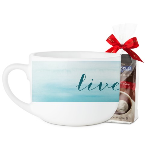 Brushed Ombre Latte Mug, White, with Ghirardelli Premium Hot Cocoa, 25oz, Blue