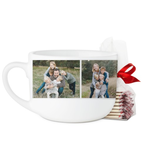 Cup of Love Collage Latte Mug, White, with Ghirardelli Peppermint Bark, 25oz, White