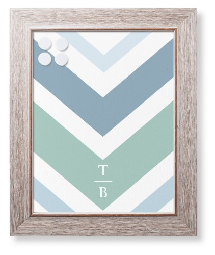Chevron Watercolor Framed Magnetic Board
