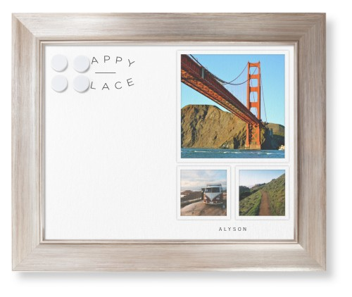 Happy Place Framed Magnetic Board, Metallic, Modern, 11 x 14 inches, DynamicColor