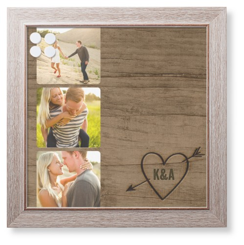 Initial Wood Heart Framed Magnetic Board, Rustic, Modern, 16 x 16 inches, Brown
