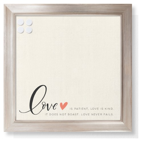 Love Quote Framed Magnetic Board, Metallic, Modern, 16 x 16 inches, Beige