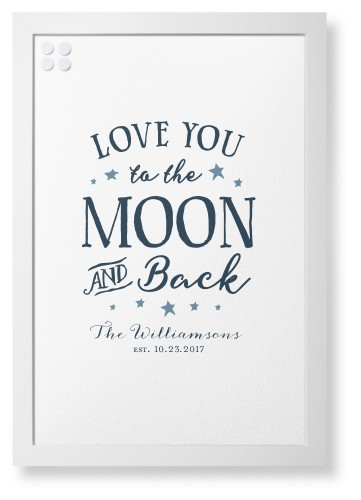 Moon and Back Script Framed Magnetic Board, White, Contemporary, 20 x 30 inches, DynamicColor