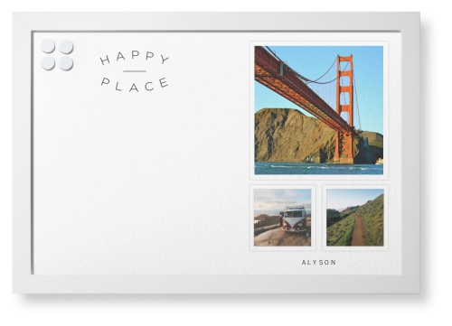 Happy Place Framed Magnetic Board, White, Contemporary, 20 x 30 inches, DynamicColor