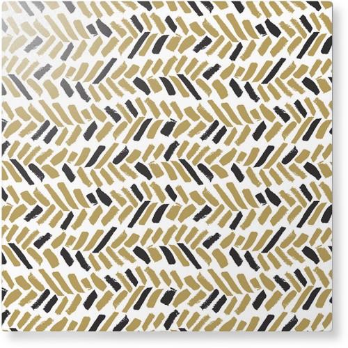 Herringbone Brushstroke Metal Wall Art, Single piece, 12 x 12 inches, True Color / Matte, ...