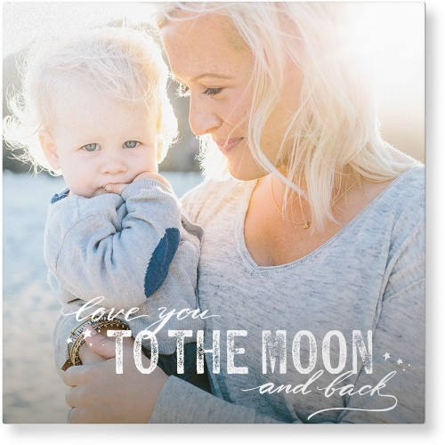 To The Moon and Back Script Metal Wall Art, Single piece, 16 x 16 inches, True Color / Matte, White