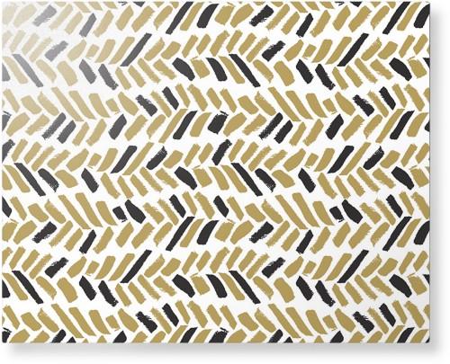 Herringbone Brushstroke Metal Wall Art, Single piece, 16 x 20 inches, True Color / Glossy, ...