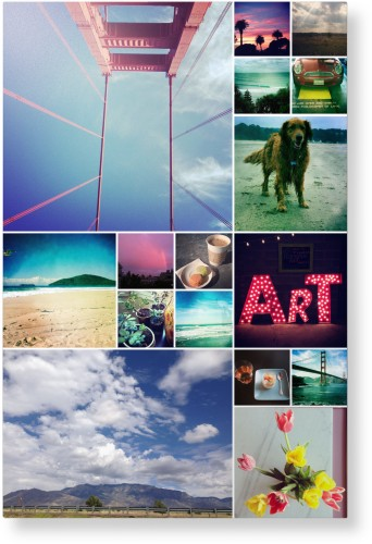 Collage Squares Metal Wall Art, Single piece, 24 x 36 inches, True Color / Matte, White