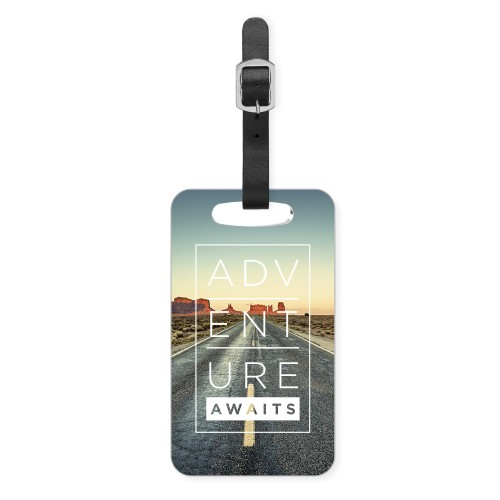 Adventure Awaits Luggage Tag, Small, White