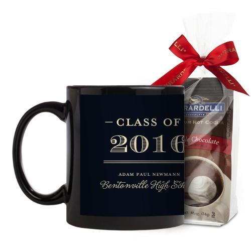 Graduation Masculine Mug, Black, with Ghirardelli Premium Hot Cocoa, 11 oz, Black