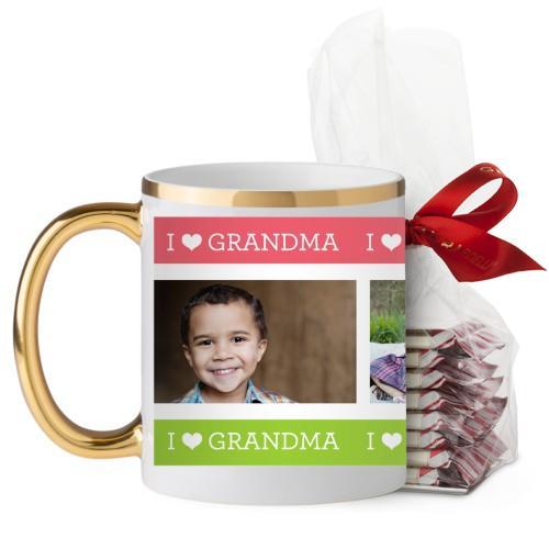 I Heart Grandma Mug, Gold Handle, with Ghirardelli Peppermint Bark, 11 oz, Pink